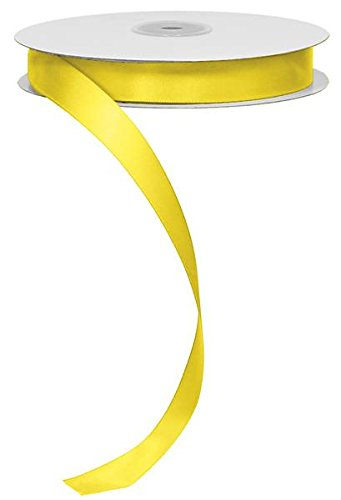 "5/8"" Double Face Satin Ribbon, No Wire - 50 Yards (Yellow)"