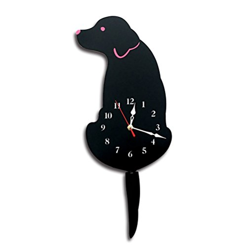 WINOMO Acrylic Cartoon Tail Wagging Labrador Dog Pattern Wall Clock for Room Kitchen Bedroom Office