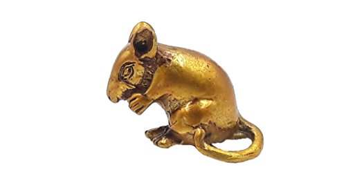 [Brassy gold mini tiny mushika mouse mount rat of lord ganesha ganesh hindu god of great beginning and] (Legend Lord Of Darkness Costume)