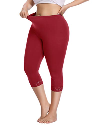 Women's Plus Size Capri Cropped Leggings Stretch Lace Trim Soft Tights Pants - Tight Pants Womens