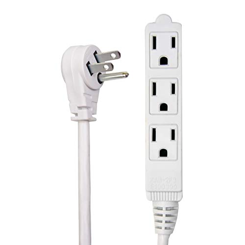 Electes 20 Feet 3 Outlet Grounded Heavy Duty Extension Cord, Multi 3 Outlet, 3 Prong Grounded, Angled Flat Plug, Round Wire, Indoor/Outdoor, 16/3, SPT3, SJTW, UL Listed, White (Long Extension Cords)