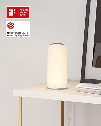 AUKEY Bedside Lamp Touch-Sensitive Table Lamp with Dimmable Warm White Light and Lighting Memory Function Night Light for Living Rooms and Bedrooms