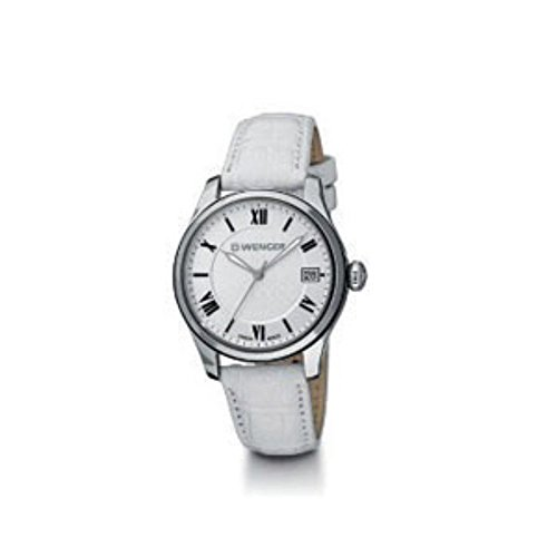 Wenger 01.0521.108 Terragraph White Leather Strap Silver Case Women's Watch