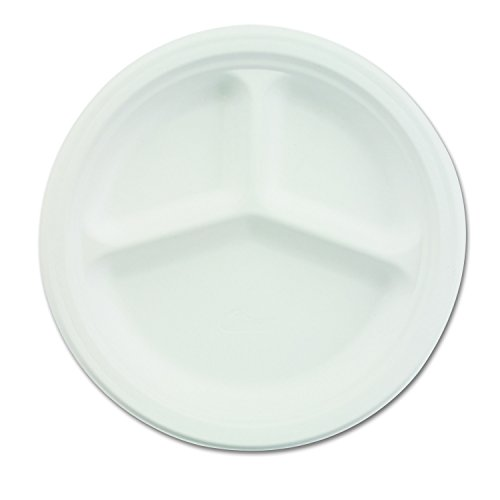 "Chinet 21204CT Paper Dinnerware, 3-Comp Plate, 10 1/4"" dia, White (Case of 500)"