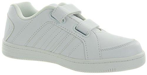 Beppi Sneaker für Teenager | Turnschuh für Jungen | Schuh mit Klettverschluss | Schwarz, Weiß oder Dunkelblau | Größe 28 bis 35 Weiß