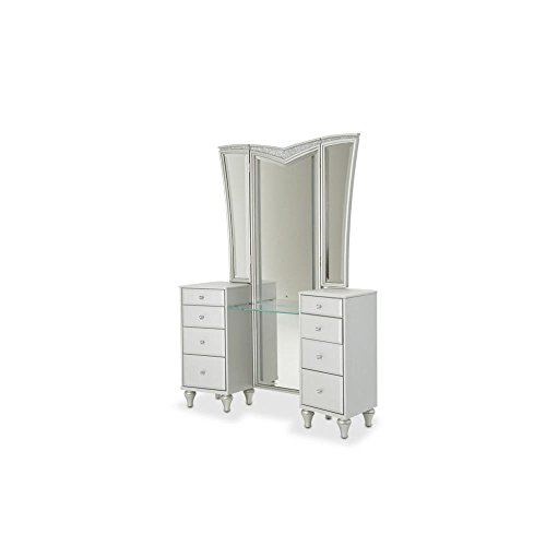 Aico Amini Melrose Plaza Bedroom Make Up Vanity Table, Mirror, Bench in Dove Grey 31f3GmNHiBL