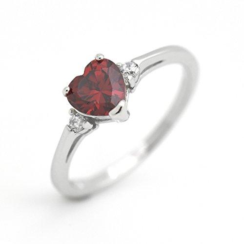 January Birthstone Ring - Cute Heart Simulated Birthstone Cubic Zirconia Sterling Silver Birthday Gift Ring Size 6 - Garnet