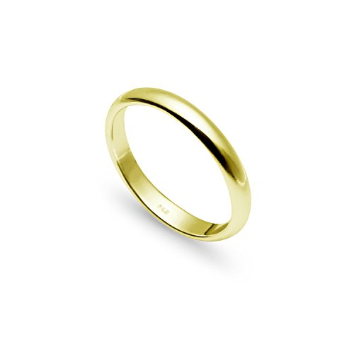 925 Sterling Silver 3mm High Polished Plain Dome Comfort Fit Wedding Band Ring | Yellow Gold Flashed | Size 7.5 ()