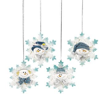 Glitter Snowman Snowflake Christmas Tree Ornaments 4