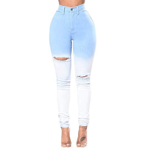 Ajustados De Agujeros Moda DAMENGXIANG Degradado Joker Azul Nueva Jeans Mujer Wathet BlanzR3kGO5tBB Y Elásticos xXRd5Sd