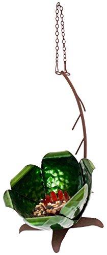 """(Desert Steel 409-109 Tulip Flower Hanging Bird Feeder-(14""""L x 10""""H x 6""""W), Beige)"""