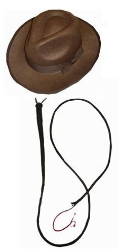 Explorer Set 1 X Brown Felt Fedora HAT 1 X Leather Bull Whip Fancy Dress Accessory Set Archaeologist Doctor Set