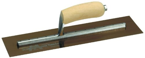 MARSHALLTOWN The Premier Line MXS205GS 20-Inch by 5-Inch Golden Stainless Steel Finishing Trowel with Wood Handle