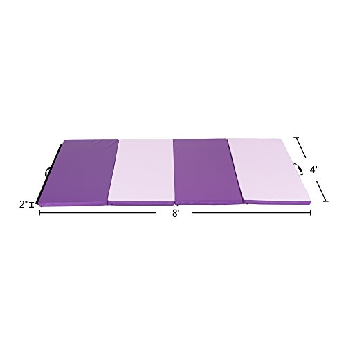 Cloud Mountain Gymnastics Mat 4'x8'x2 Gym Mat Folding Thick Panel Gym Mat Tumbling Mat Fitness Exercise Handle Compatibility Hook & Loop Tape Martial Arts Yoga Aerobics Cheerlanding (Pink & Purple) by Cloud Mountain (Image #2)