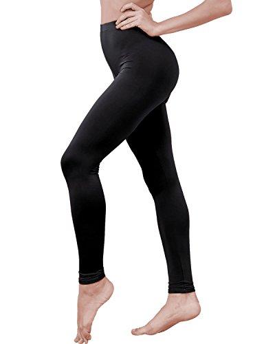 HASLRA Women's Light Weigh Premium Viscose Rayon Stretch Full Length Leggings (Black)