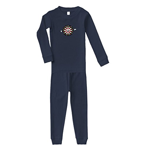 Cute Rascals Dartboard With Face and Hands Cotton Long Sleeve Crewneck Unisex Infant Sleepwear Pajama 2 Pcs Set Top and Pant - Navy, 6 Months