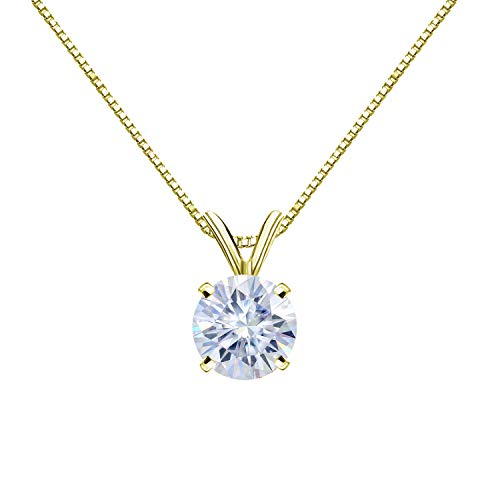 Diamond Wish 14K Yellow Gold Round Moissanite Solitaire Pendant 8.5mm 2 TGW in 4-Prong Basket (White) 18