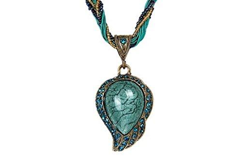 Desklets Vintage Bohemia Style Phoenix Peacock Crystal Diamond Opal Pendant Necklace(Blue)