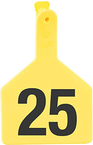 - Z Tags 1-Piece Pre-Numbered Hot Stamp Tags for Cows, Numbers from 51 to 75, Yellow