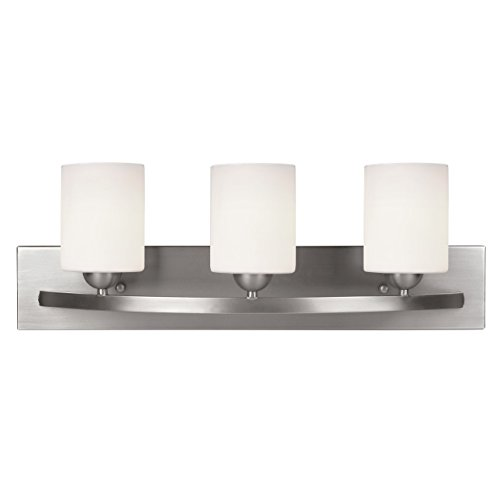 - Canarm Luztar Hampton 3 Bulb Vanity Light, Brushed Pewter finish - White Opal Glass