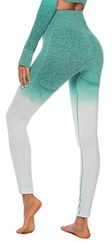 MMIW COLLECTION Seamless High Waisted Gym Leggings for Women Stretch Yoga Pants Ombre Workout Running Leggings(1901-Green-M)