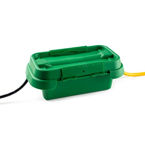 SOCKiTBOX - The Original Weatherproof Connection Box - Indoor & Outdoor Electrical Power Cord Enclosure for Timers, Extension Cables, Holiday Lights, Power Tools, Fountains & More - Size Small - Green