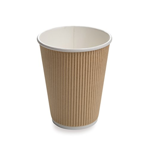 - 25-CT Disposable Kraft 12-OZ Hot Beverage Cups with Ripple Wall Design: No Need for Sleeves – Perfect for Cafes or Home Use – Eco-Friendly Recyclable Paper – Insulated – Wholesale Takeout Coffee Cup