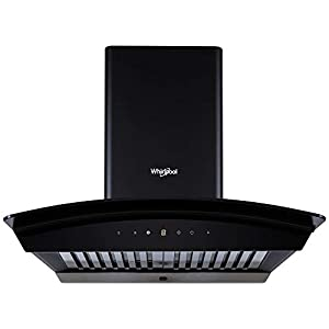 Whirlpool 60 cm 1100 m³/HR Auto-Clean Curved Glass Kitchen Chimney (CG 601 HAC HOOD, Baffle Filter, Touch Control, Black…