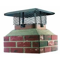 HY-C SCADJ-L Shelter Adjustable Clamp On Single Chimney Cover, Fits Outside Various Sizes of Existing Clay Flue Tile, Large Black Galvanized Steel