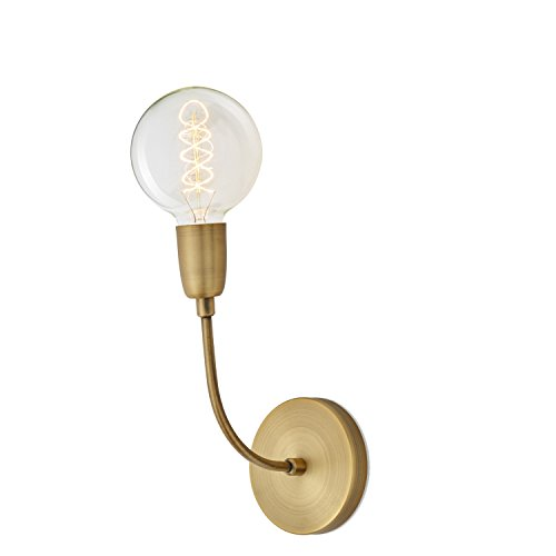 Mid Century Modern Brass (Aged Brass 1-Light Hardwire Celeste Wall Sconce Lamp Light with Large G40 Vintage Bulb, ETL)