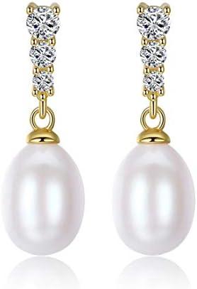 クリスマスのための高級淡水真珠スタッドピアス18 Kゴールドメッキクリスタルジュエリーギフト