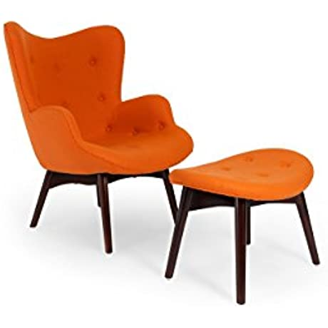 Kardiel Grant Featherston Contour Style Wing Chair Ottoman Carrot Cashmere Wool Walnut Legs