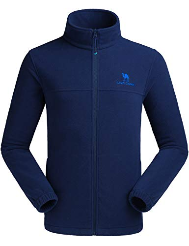 (CAMEL CROWN Men Full Zip Fleece Jackets with Pockets Soft Polar Fleece Coat Jacket for Fall Winter Outdoor Dark Blue)