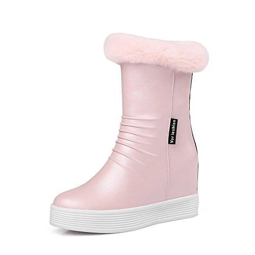 VogueZone009 Damen Rein Weiches Material Hoher Absatz Reißverschluss Rund Zehe Stiefel, Pink, 40