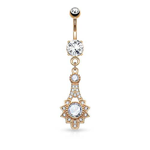 Micro Pave CZ Tribal Sun Dangling Belly Button Ring - Available in Multiple Colors (Rose Gold (Dangling Sun Belly Ring)