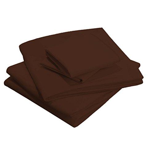 Scalabedding 58,4 cm Poche profonde 100% coton égypcravaten 400 fils Full-xxl Taille solide de lit Café
