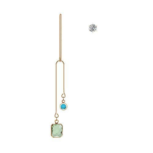 (Demana Women Fashion Asymmetrical Rhinestone Long Dangle Stud Earrings Party Jewelry)
