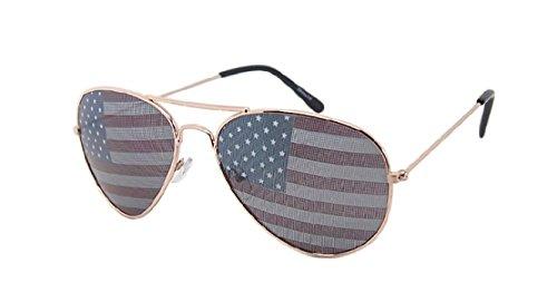 American Flag Sunglasses For Women Stars and Stripes Fake Plastic Sun Shade Gold