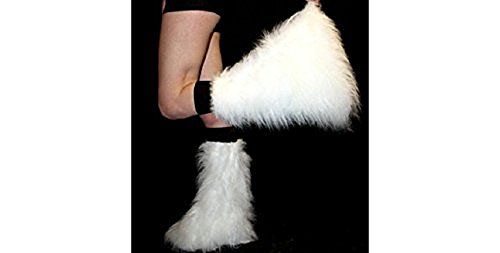[White Fluffy Furry Boot Covers Legwarmer Neon Party Rave Clubwear Halloween Dance] (Furry Rave Boots)