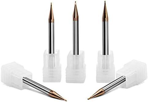 GENERICS LSB-Werkzeuge, 5 Teile/Satz 55HRC 0,2/0,4/0,5/0,6/0,8/0,9mm länge 50 MM 2 Nuten CNC schaftfräser TiXCo Coated Solid Carbide 2 Nuten Micro Schaftfräser