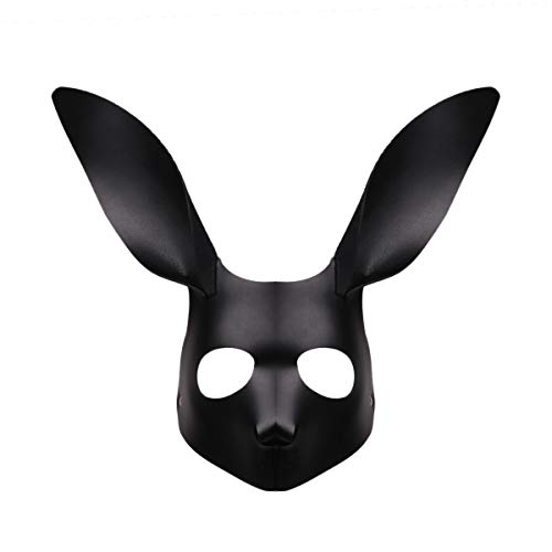 CHICTRY Fox/Rabbit Cosplay Masks with Ears PU Leather Adult Flirting Mask for Halloween Masquerade Party Costume Accessory Rabbit One Size