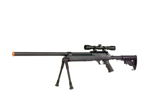 BBTac MB06 SR-2 Tactical Airsoft Sniper Rifle with 3-9x32 Scope & Bipod AWP 500 fps Bolt Action Metal Spring Gun (Gas Powered Sniper Rifle Airsoft)