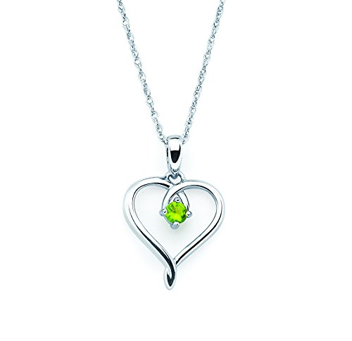 Genuine Peridot Heart Pendant - 925 Sterling Silver Genuine Peridot August Birthstone Heart Pendant Necklace with 18
