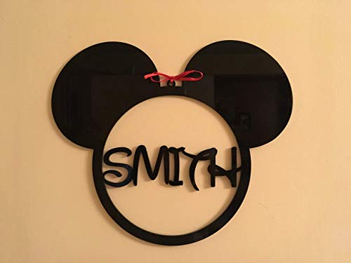 Mickey Mouse Monogram Personalized Any Name Sign Acrylic Hanging Wall Decorations Minnie Mouse Ears Ornament Disney Shape Nursery Wall Art Gift for Kids Bedroom Custom House Decor Birthday Present -