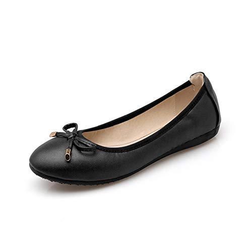 Fnnetiana Womens Foldable Ballet Flat Shoes Comfortable Slip On Bowknot Round Toe Dress Shoes (US 8.5, Black)