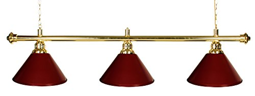 "61"" Pool Table Light - Billiard Lamp Brass Rod Choose Burgandy, Green or Black Metal Shades (brass burgundy)"