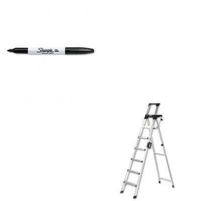 Price comparison product image KITCSC2081AABLDSAN30001 - Value Kit - Cosco Eight-Foot Lightweight Aluminum Folding Step Ladder w/Leg Lock amp;amp; Handle (CSC2081AABLD) and Sharpie Permanent Marker (SAN30001)