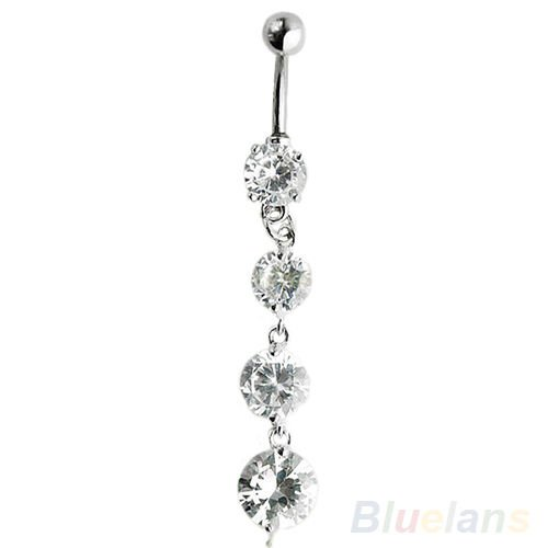 Sumanee 2016 Crystal Long Dangle Body Piercing Belly Button Ring Navel Bar...