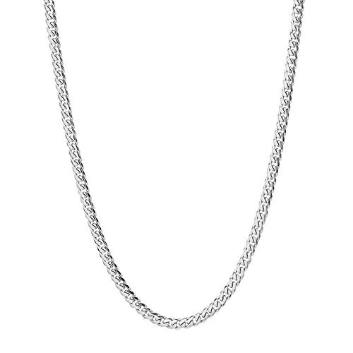 Q&S Jewels 3.5MM Mens Chain Necklace, Classic Curb Cuban Links Chain for Men Women boy 316L Stainless Steel Silver Jewlery Wear Alone or with Pendant 18k White Gold Snake Chain