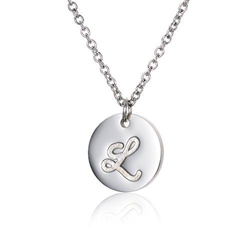 (HUAN XUN L Dainty Initial Necklace Nickel Free Stainless Steel Jewelry)